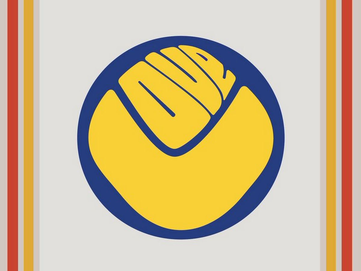 A merging of the logo of cult Sixties band Love with Leeds United's old 'smiley' crest